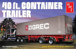 AMT 1:24 40ft Semi Container Trailer , DUE 2/25/2020, LIST PRICE $87.5
