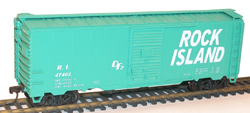 Accurail HO 40' Steel Boxcars Single Rock Island Green, DUE 6/30/2018, LIST PRICE $17.98