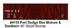 Accurail HO KIT 40' Wood Outside Braced Box, FtDDM&S, LIST PRICE $18.98