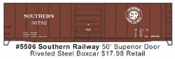 Accurail HO 50' Steel Boxcar SOU, LIST PRICE $17.98