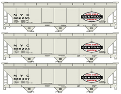 Accurail HO ACF 3-Bay Covered Hopper, NYC (3), LIST PRICE $55.98