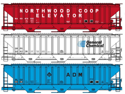 Accurail HO SP4750 Covered Hopper, Private Owner (3), DUE 7/31/2019, LIST PRICE $61.98