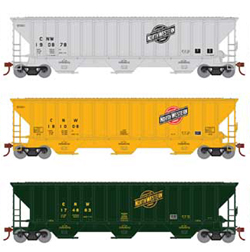 Athearn HO PS4740 Cvrd Hpr C&NW 3pk, DUE 11/30/2019, LIST PRICE $92.98