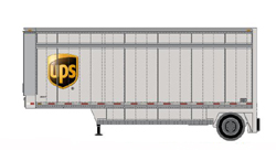 Athearn HO 28ft Drop Sill Parcel Trlr UPS UPS w/sheild #364422, LIST PRICE $29.98