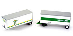 Athearn HO 2 28' TRAILERS W/ DOLLY - SPARTAN, LIST PRICE $39.98