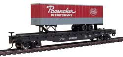 """Bachmann HO 52' 6"""" Flat w/ 35' Trailer, NYC/Pacemaker, LIST PRICE $51"""