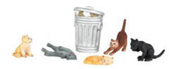 Bachmann HO Cats w/Garbage Can (6), LIST PRICE $13.5