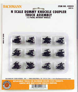 Bachmann N Dummy Knuckle Coupler Truck Assembly (12pr), LIST PRICE $28
