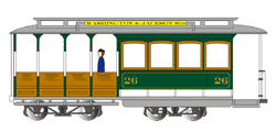 Bachmann HO Cable Car w/fig grn/gry, DUE TBA, LIST PRICE $109