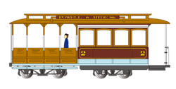 Bachmann HO Cable Car w/fig mar/tan, DUE TBA, LIST PRICE $109