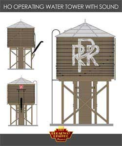 Broadway Ltd HO Operating Water Tower/Sound,PRR/Weathered Brown, LIST PRICE $119.99