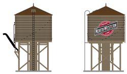 Broadway Ltd HO Operating Water Tower w/ Snd C&NW Logo Wthrd Brn, LIST PRICE $119.99