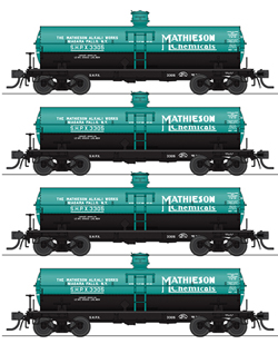 Broadway Ltd HO 6k Gal Tank Mathieson 4-pk, LIST PRICE $139.99