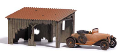 Busch HO Barn Treasures Lean-To Garage with Old Car, LIST PRICE $46.99