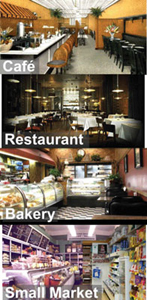 City Classics HO Four Food Businesses Picture Window 4-Pack, LIST PRICE $19.98