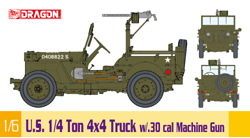 DML MILITARY KITS 1/4t 4x4 Truck W/30cal Mg 1:6, LIST PRICE $365