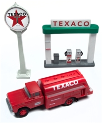 Classic Metal 1:87 1960 Ford Tnk Trk w/Statn Sign & Gas Island Texaco  , LIST PRICE $28.99