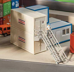 Faller HO Portable Modular Container Offices with Staircase, LIST PRICE $26.99