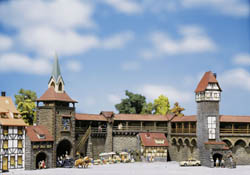 Faller HO Old Town Wall Set, LIST PRICE $159.99