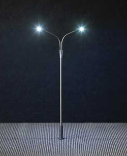 Faller HO LED Double Streetlight Adjustable height up to, DUE TBA, LIST PRICE $27.99