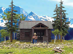 Grand Central Gems HO Smokey Bear w/Cabin & 3 Trees Assembled, LIST PRICE $70