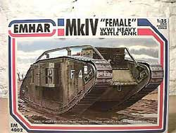 Emhar Model Co WW-I BRITISH FEMALE Mk.IV 1:35, LIST PRICE $45.99