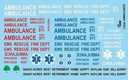 Gofer Racing Model Decals AMBULANCE DECALS 1:25, LIST PRICE $9.99