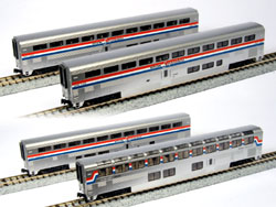 Kato N Superliner Ph3 Amtrak 4 car set B, LIST PRICE $110