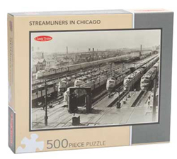 """Kalmbach Streamliners in Chicago Puzzle 500 Pieces 15 x 21"""", LIST PRICE $14.99"""