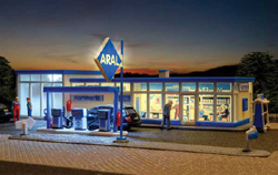 Kibri HO Aral Gas Station with LED Light, LIST PRICE $49.99