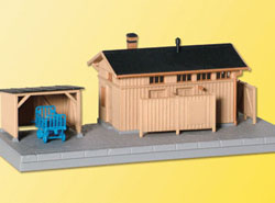 Kibri HO Lineside Building w/Hut -- 18 x 6.5 x 8cm, LIST PRICE $22.99