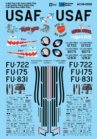 Micro Scale 1/48 Military Aircraft Decal Set F-86A Peg 0 My Heart 336th, LIST PRICE $8.5
