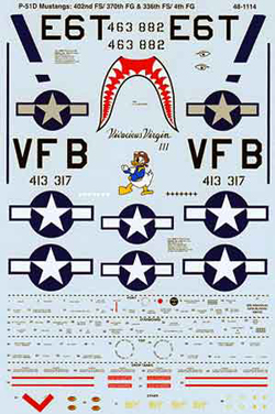 Micro Scale 1/48 Aircraft Decal Set P 51D Mustangs 402nd FS/ 3, LIST PRICE $8