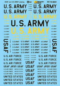 Micro Scale 1/72 Military Decal Set USAF And U.S. Army Letteri, LIST PRICE $8