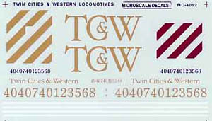 Micro Scale HO Twin Cities & West Loco, LIST PRICE $4.5