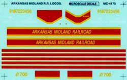 Micro Scale HO Arkansas midland loco, LIST PRICE $5.25