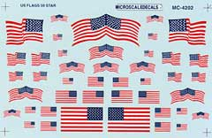 Micro Scale HO US Flags 50 stars 1960+, LIST PRICE $5.25