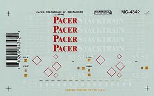 Micro Scale HO 53' CONT' PACER STACK TRAIN, LIST PRICE $5