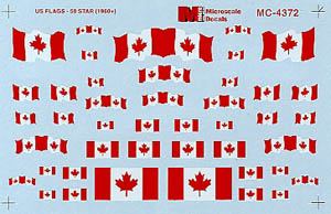 Micro Scale HO Canadian Flags 1965+, LIST PRICE $5.25