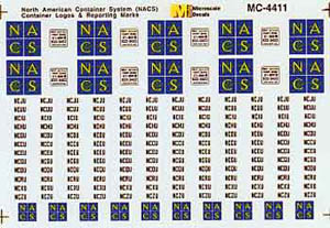 Micro Scale HO MiniCal NACS Cntnr Logos, LIST PRICE $5.25