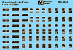 Micro Scale Cons Lube Plates 1970-80, LIST PRICE $5.25