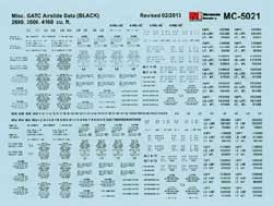 Micro Scale HO Decal GATC Airslide Data 2600 3500 & 4160 Cuft Black, LIST PRICE $5