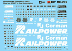 Micro Scale HO Decal Railpower & NREX Genset Logos & Data, LIST PRICE $5.25