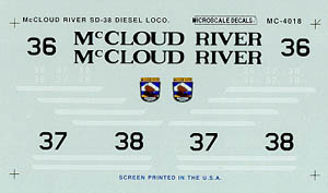 Micro Scale N McCloud River SD-38, LIST PRICE $6.75