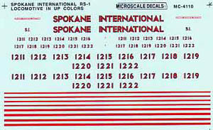 Micro Scale N Spokane Int'l RS-1 Loco, LIST PRICE $6.75