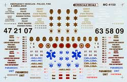 Micro Scale N Emergency vehicle markings, LIST PRICE $6.75
