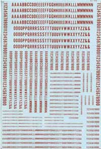 Micro Scale N Alphabet Decals Condensed Gothic red, LIST PRICE $5.75