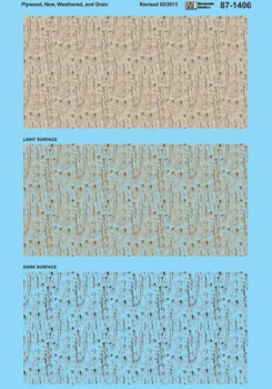 Micro Scale HO Texture Overlay Decal Plywood Weathered/Woodgrain, LIST PRICE $8