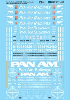 Micro Scale HO Decal Set Pan Am RR Diesel Loco & FMC 5347 Box, LIST PRICE $8