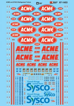 Micro Scale HO Reefer Trailers, ACME/SYSCO, LIST PRICE $8